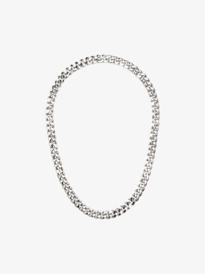 18K white gold flat link necklace
