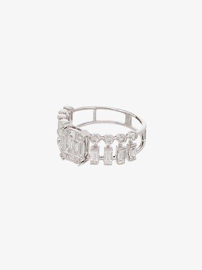 18K white gold Illusion centre dot dash diamond ring