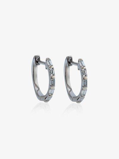 18K white gold mini baguette diamond earrings
