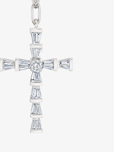18K white gold mini cross diamond necklace