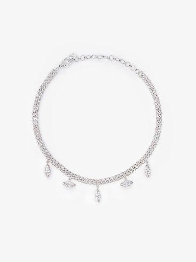 18K white gold Mini Link diamond drop necklace