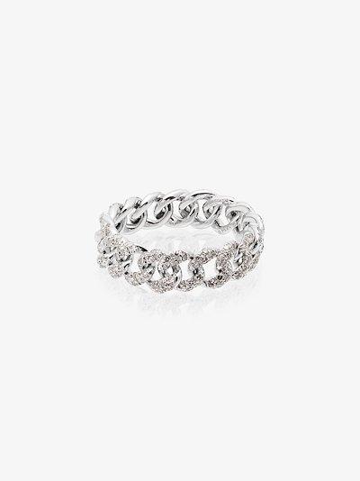 18K white gold Mini Link diamond ring