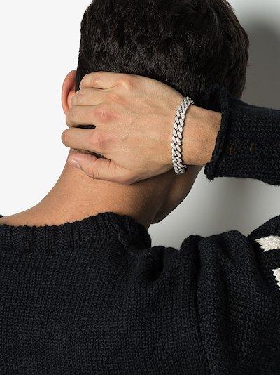 18K white gold pavé diamond link bracelet