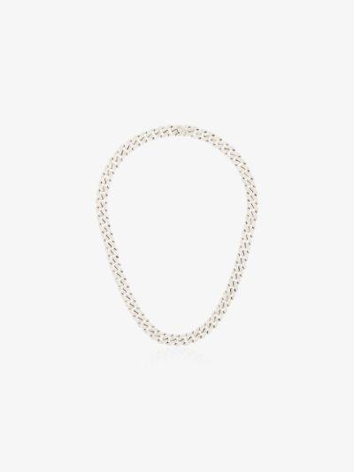 18K white gold pavé diamond link necklace