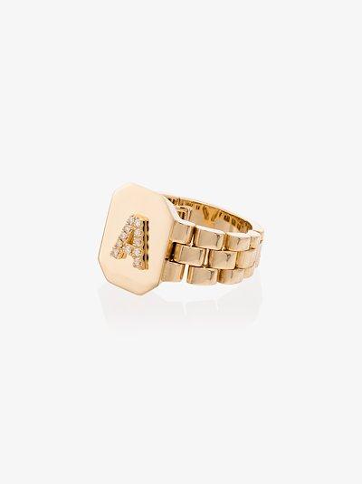 18K yellow gold A initial diamond ring