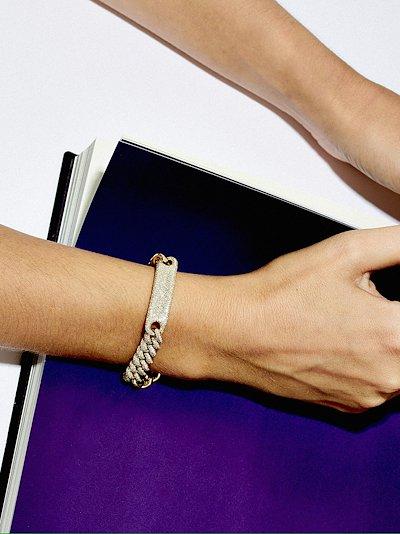 18K yellow gold Full Pavé ID Link diamond bracelet
