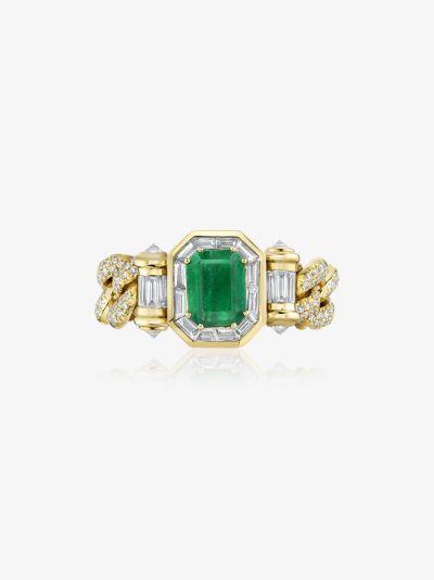18K yellow gold halo link emerald diamond ring