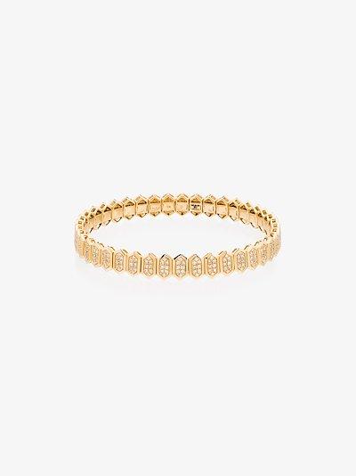 18K yellow gold Hexagon Stretch diamond bracelet