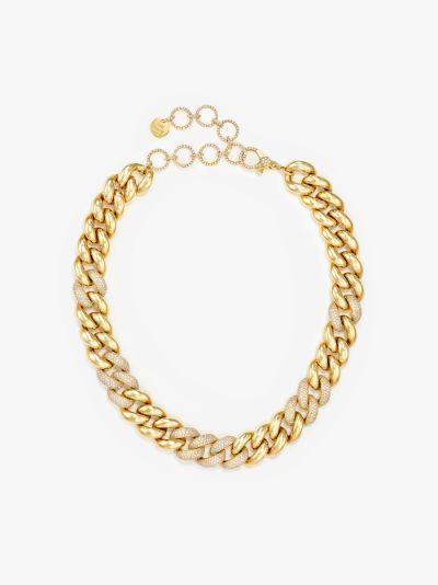 18K yellow gold jumbo alternating pavé diamond necklace