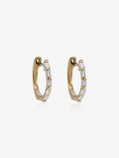 18K yellow gold mini baguette diamond earrings