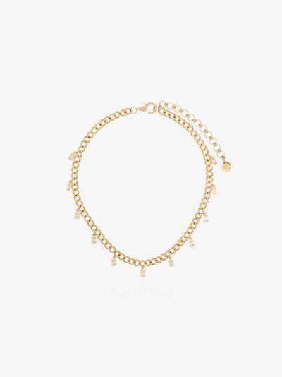 18K yellow gold mini link diamond drop necklace
