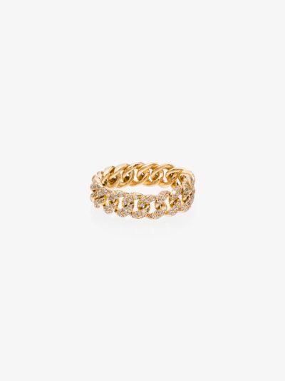 18K yellow gold mini link diamond ring