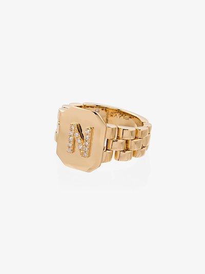 18K yellow gold N initial diamond ring
