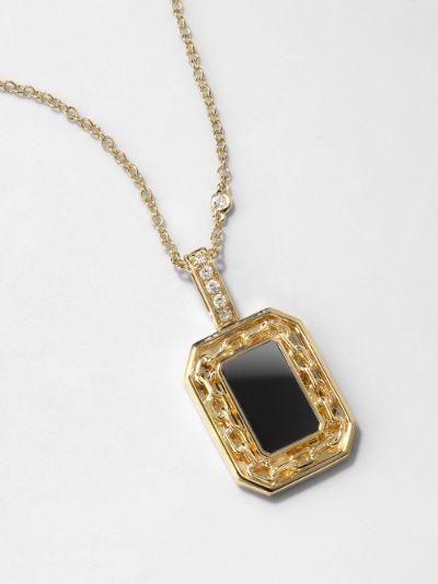 18K yellow gold onyx diamond necklace