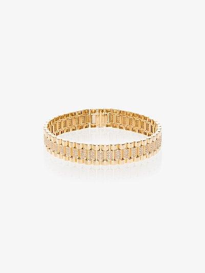 18K yellow gold pavé diamond link bracelet