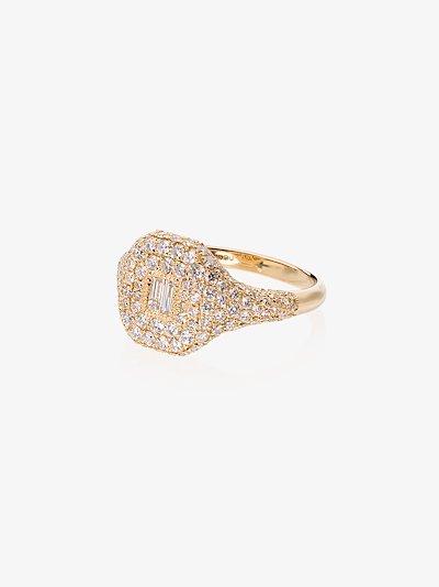 18K yellow gold pavé diamond signet ring