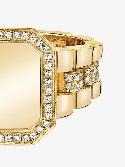 18K Yellow Gold Pavé Frame Rail Diamond Signet Ring