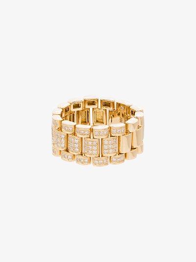18K yellow gold Rail Link diamond ring