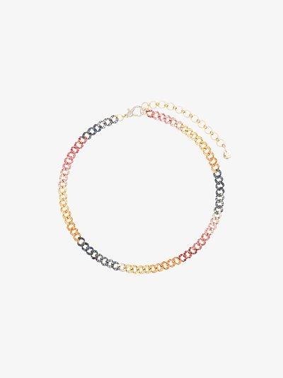 18K yellow gold Rainbow crystal link chain choker