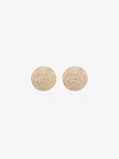 18K yellow gold round pavé diamond stud earrings