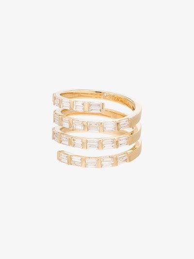 18K yellow gold Spiral Quad diamond ring