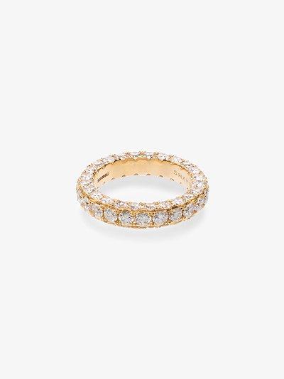18K Yellow gold Three Sided Eternity diamond ring