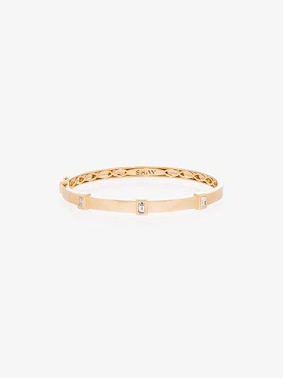 18K yellow gold Triple Bezel diamond bangle