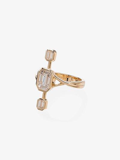18K yellow gold triple constellation diamond ring