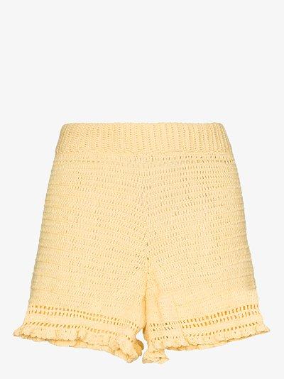 Ruffled crochet shorts