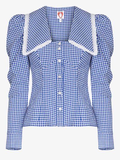 Elliot pouf sleeve gingham blouse