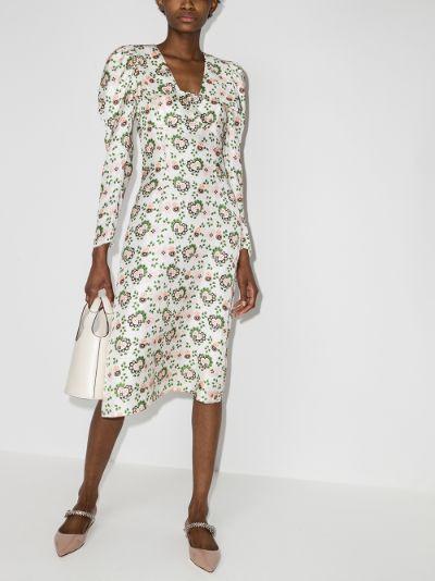 Elton floral print silk dress