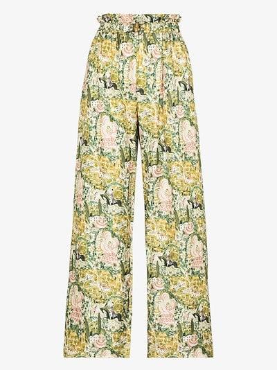 Libra printed silk trousers