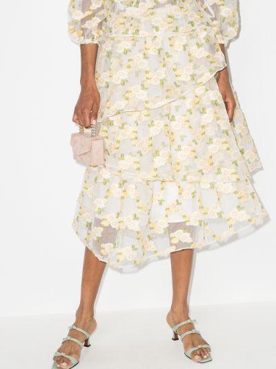 Lorena floral ruffled skirt