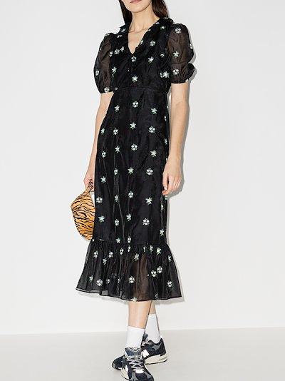 Oakley embroidered midi dress