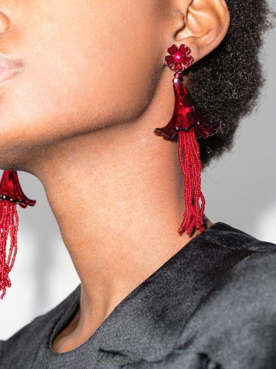 red Letitia beaded flower earrings