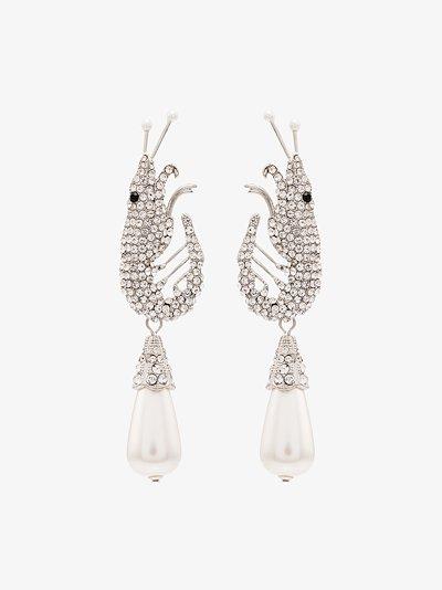 silver tone Shrimp pavé crystal earrings