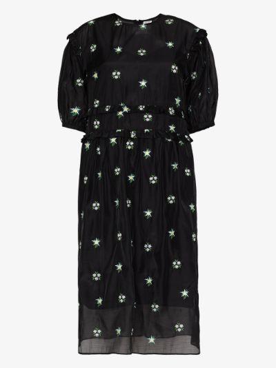 theodore embroidered organza midi dress