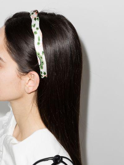 white frilly hearts pattern headband