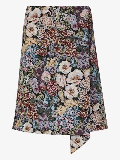 Floral jacquard wrap skirt