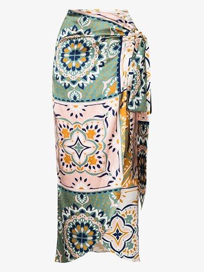 Bonnan patchwork silk wrap skirt