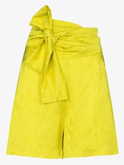 Floral tie waist shorts