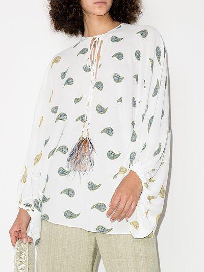 Geva sheer paisley peasant blouse