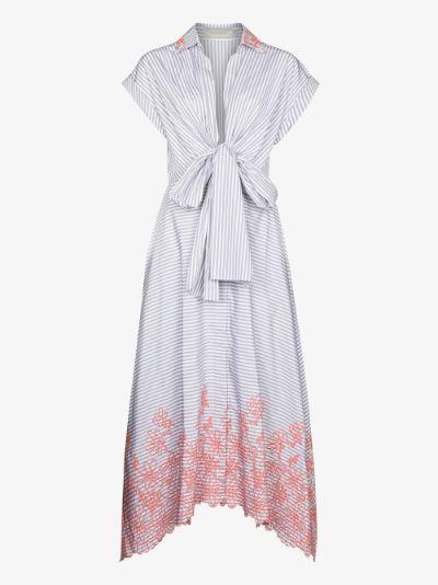 Rigone striped embroidered midi dress