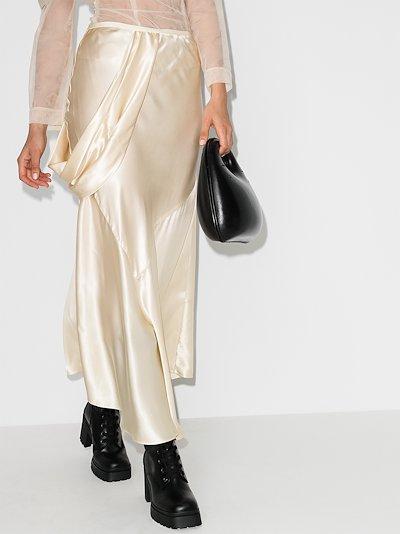 asymmetric silk midi skirt
