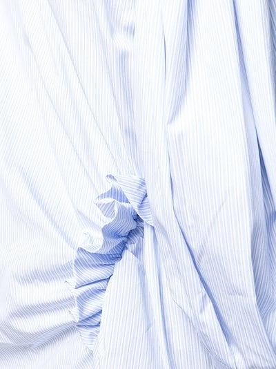 asymmetric striped ruffle shirt