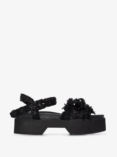 black embellished leather sandals