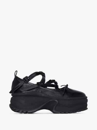 Black Embellished Platform Ballerina sneakers