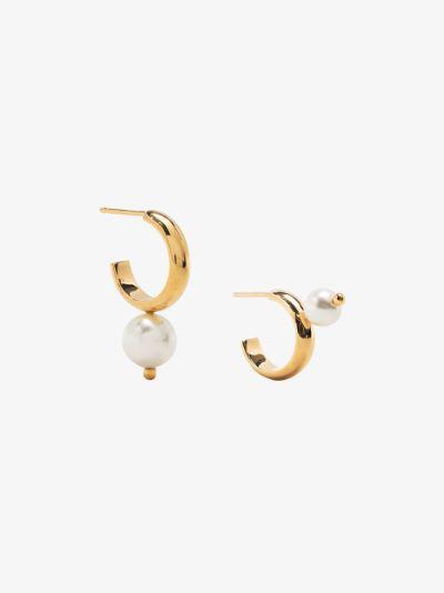 Gold-Plated Pearl Hoop Earrings