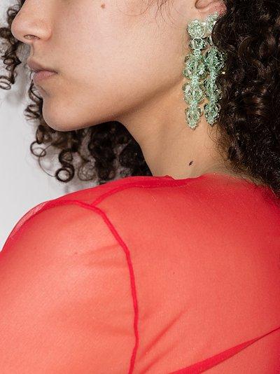 green crystal flower drop earrings