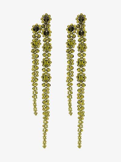 Green Double Drip crystal earrings